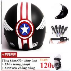 Bán Bộ Mũ Bảo Hiểm Phượt 3 4 Đầu Captain America Tặng Kem Gậy Chụp Ảnh Khẩu Trang Phượt Thủ Lưỡi Trai Chống Nắng Có Thương Hiệu