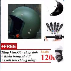Bộ Mũ Bảo Hiểm Phượt 3 4 Đầu Xanh Linh Tặng Kem Gậy Chụp Ảnh Khẩu Trang Phượt Thủ Lưỡi Trai Chống Nắng Hồ Chí Minh