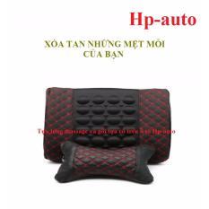 Bộ Sản Phẩm Gối Tựa Đầu Va Đệm Tựa Lưng Massage Hp Auto Mau Đen Chỉ Đỏ Oem Chiết Khấu 50