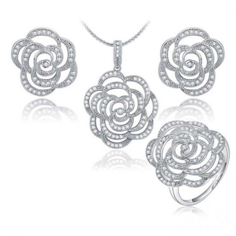 Bộ trang sức nữ bông hồng bạc trắng cao cấp thương hiệu roxi