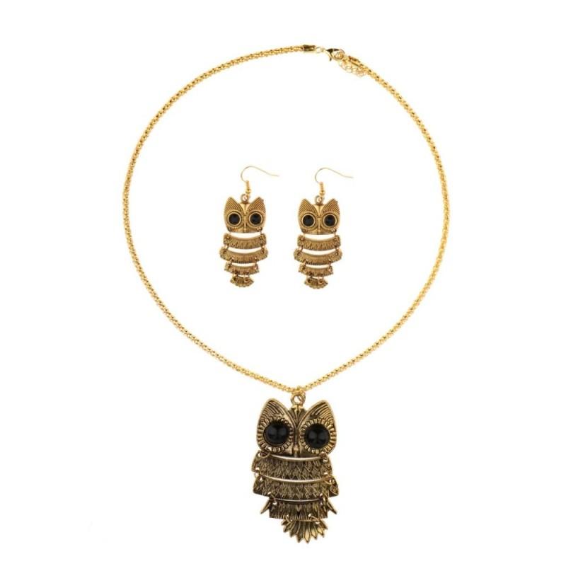 BolehDeals Vintage Owl Tòn Ten Hoa Tai Vòng Cổ Bộ Nữ Teen Nữ Bộ Trang Sức-quốc tế