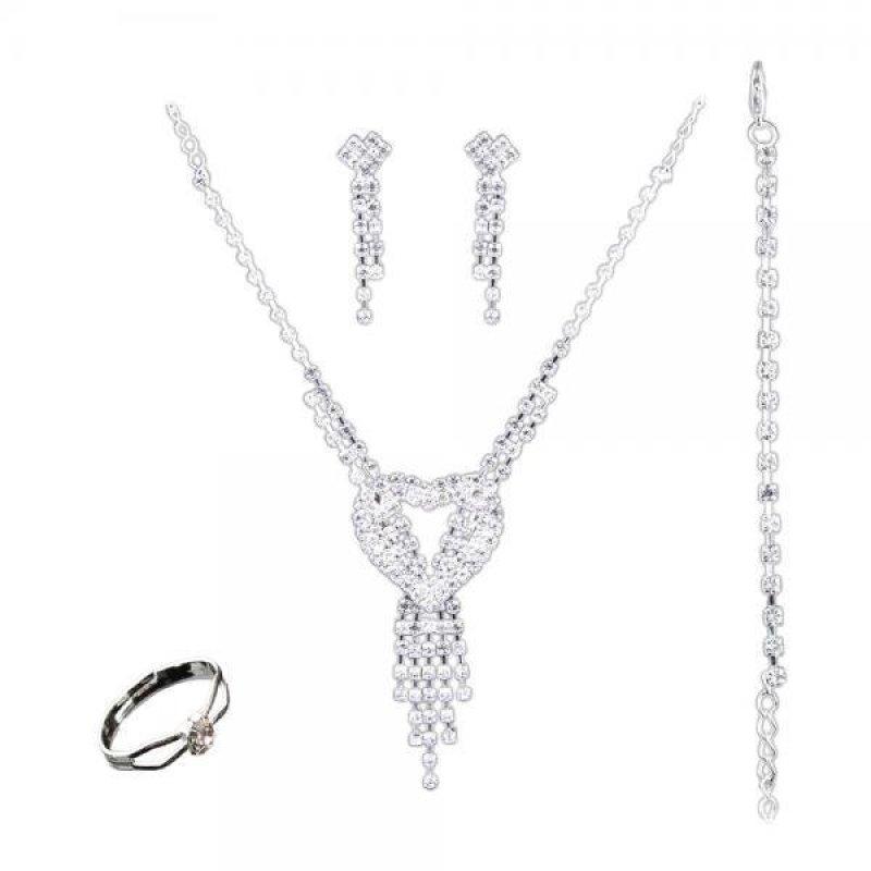 BolehDeals Wedding Bride Hollow Crystal Rings Earrings Bracelet Necklace Jewelry Sets - intl