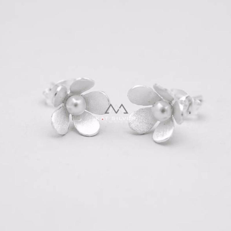 Bông tai bạc 925 KAT Silver hoa nhỏ KRSES110-152