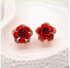 Bông tai nữ (Khuyên tai)hoa hồng đỏ viền đính đá phong cách Vintage Anthome (BT95)