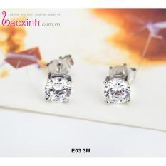 Bông tai nữ trang sức bạc Ý S925 Bạc Xinh - Hoa đá E03