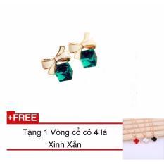 Bông Tai pha lê Xanh Lục + Tặng kèm Vòng cổ cỏ 4 lá May Mắn