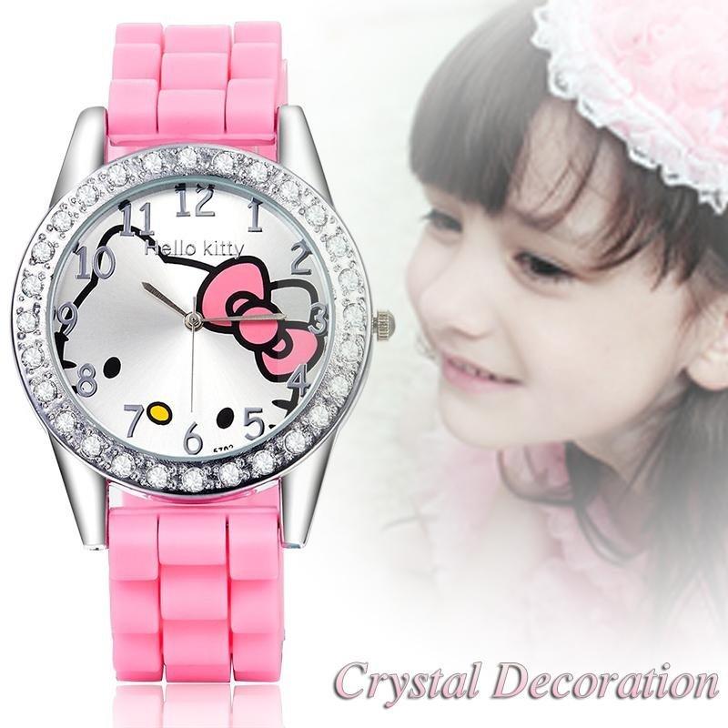 Thương hiệu Hoạt Hình đồng hồ Nữ Silicon Jelly trẻ em bé gái đầm Đồng Hồ Đeo Tay Thạch Anh trẻ em hellokitty đồng hồ-quốc tế bán chạy