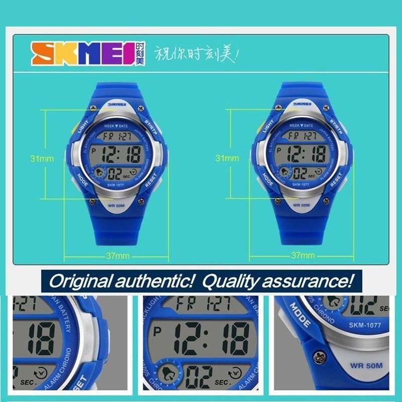 Brand Watch Children Outdoor Sports Kids Boy Girls LED Digital Alarm Stopwatch Waterproof Wristwatch Childrens Dress Watches 1077 - intl bán chạy