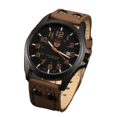 Nơi bán Brief Pointer Display Men Date Strap Quartz Sport Watch (Brown)