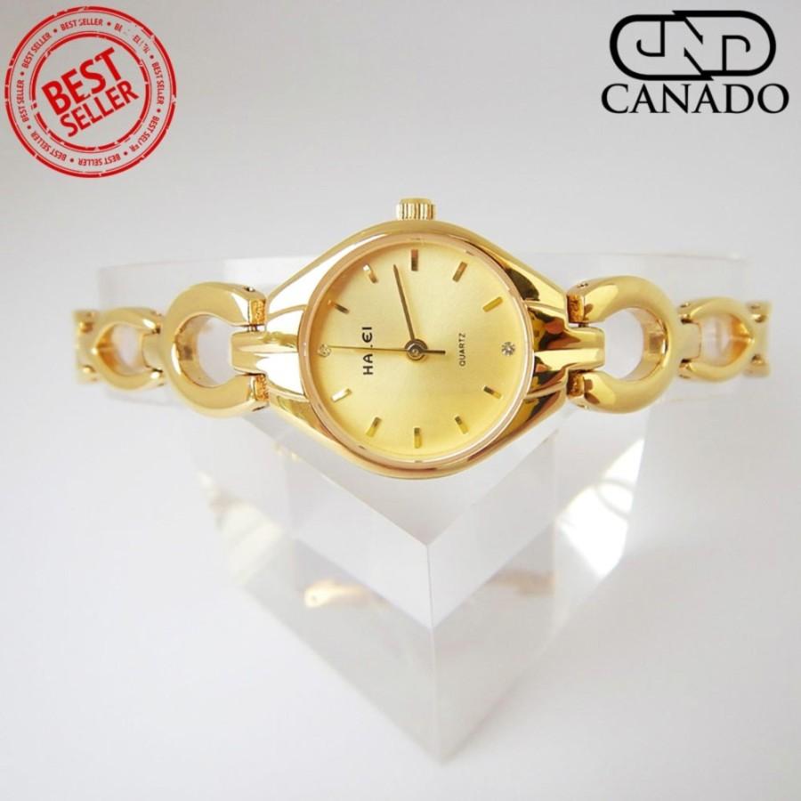 CANADO Đồng Hồ Nữ HALEI Saphiare Ladies Luxury Watch HL5006 Chống Xước - Chống Nước (Vàng)