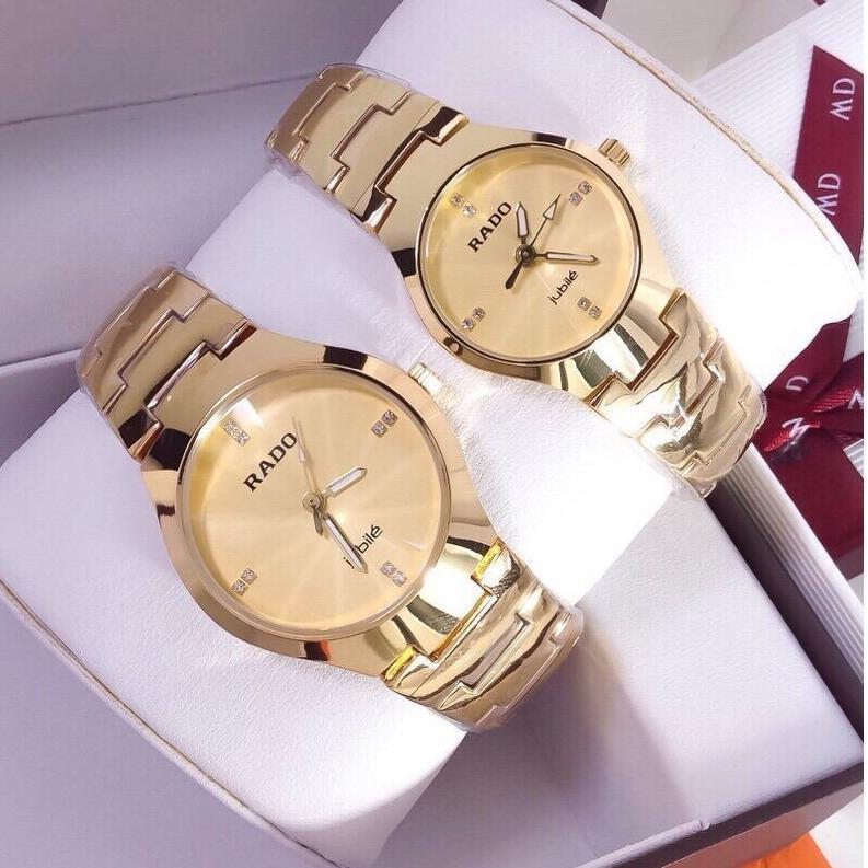 Hình ảnh Cặp đôi đồng hồ RADO dây vàng mặt vàng thời trang, chống nước tuyệt đối
