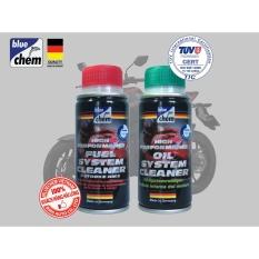 Cặp sản phẩm Bluechem Làm sạch Động cơ xe máy (Oil + Fuel System Cleaner)