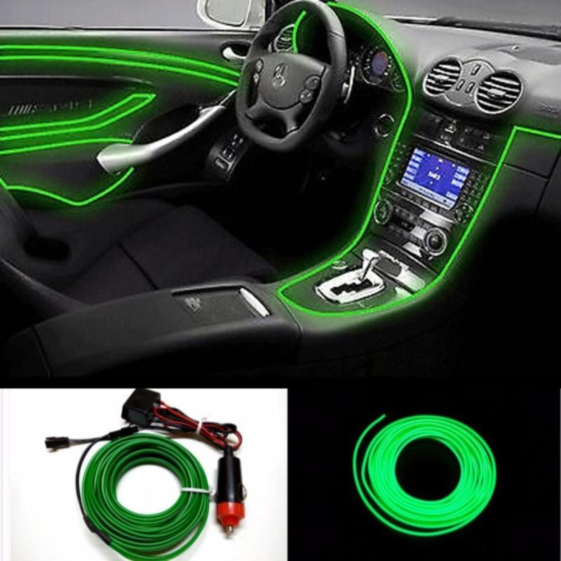 [Có đèn led] Chỉ nẹp nội thất có đèn LED trang trí taplo và bảng điều khiển trên ô tô (Xanh lá 5m)