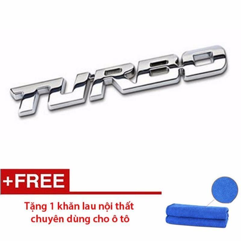 Chữ TURBO dán trên ô tô (Màu Crom) - Tặng 1 khăn lau ô tô siêu thấm