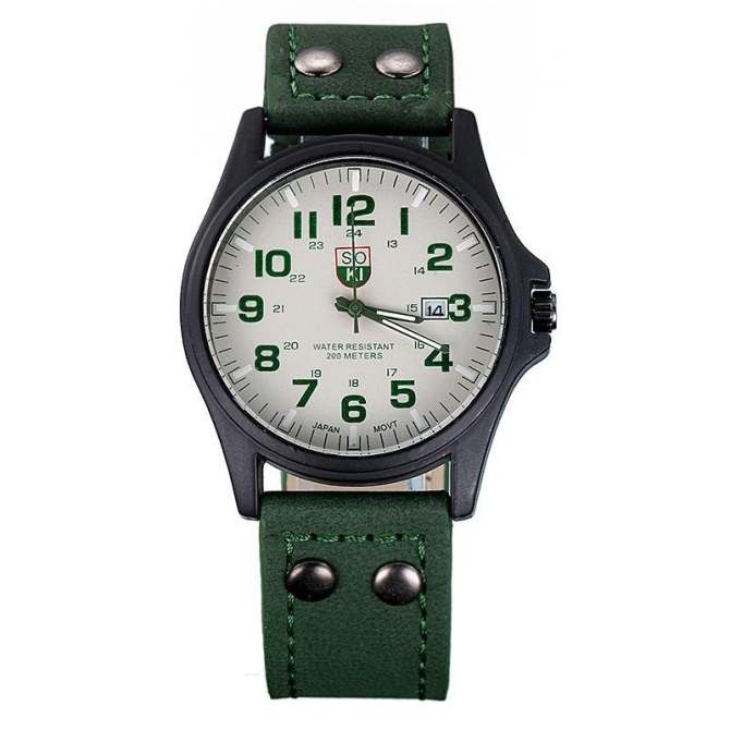 coconie Vintage Classic Men's Waterproof Date Leather Strap Sport Quartz Army Watch - intl ...