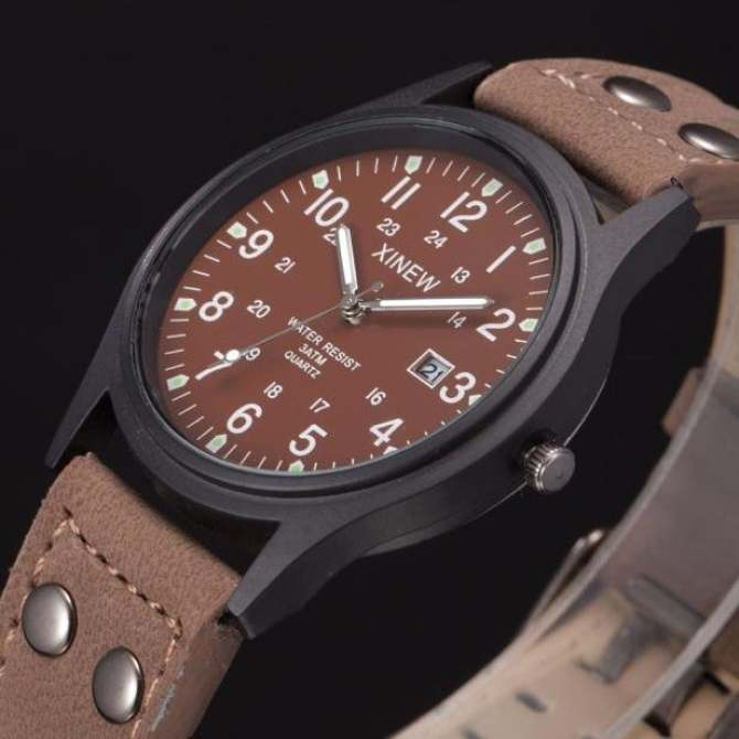 coconie Vintage Classic Men's Waterproof Date Leather Strap Sport Quartz Army Watch - intl