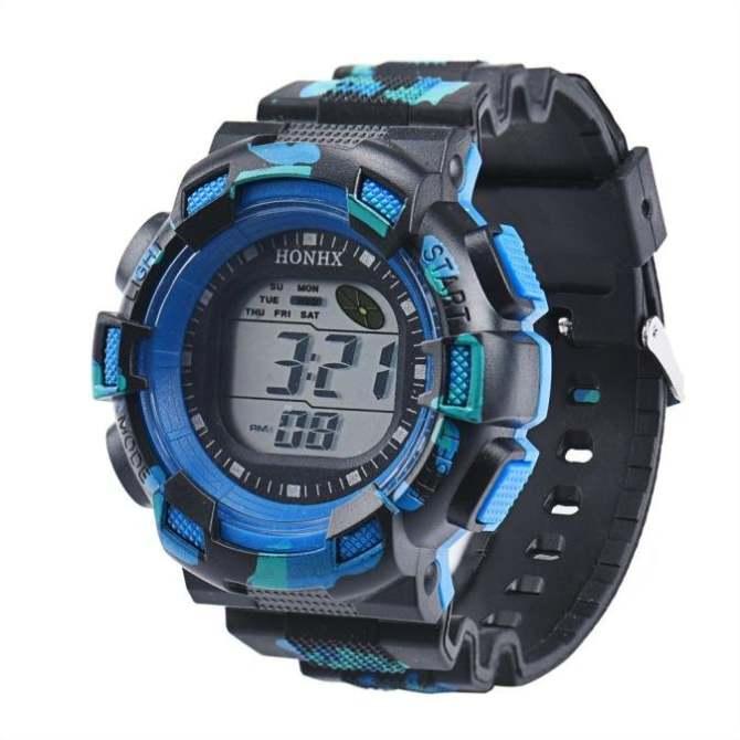 Coconiey Men Fashion LED Digital Alarm Date Rubber Army Watch Waterproof Sport Wristwatch Blue - intl