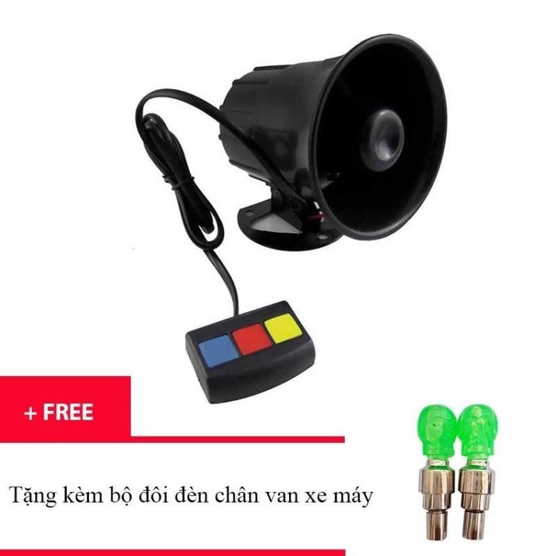 Còi hú 3 tiếng (Đen) AS365 + Tặng 2 đèn led gắn van xe - Kmart