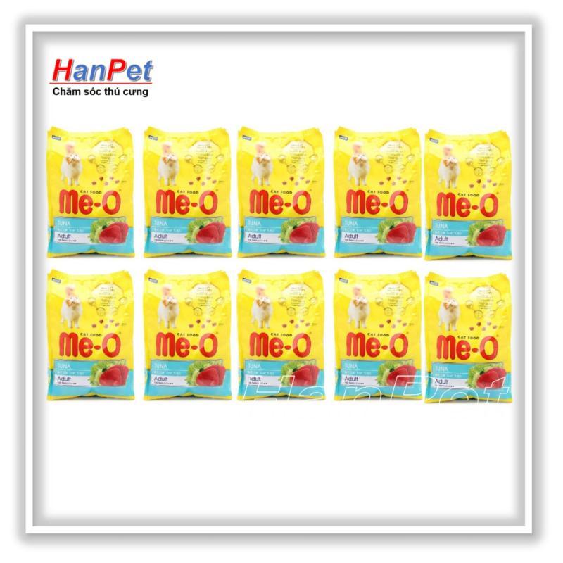 HN-Combo 10 gói ME-O 350gr - thức ăn  dạng hạt cho mèo lớn vị CÁ NGỪ (hanpet 201d)