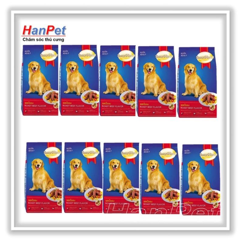 HCM-Combo 10 gói SmartHeart - 400gr -thức ăn  dạng hạt cho chó lớn (hanpet 206b)-HP10311TC
