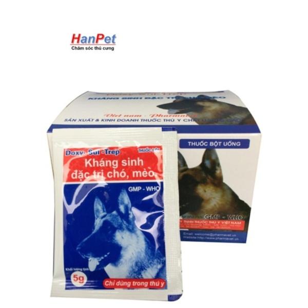 10 GÓI kháng sinh tổng hợp  phòng bệnh ĐỊNH KỲ chó mèo -(10  gói mỗi gói 5gr)