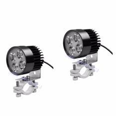 Combo 2 đèn pha trợ sáng 4 LED siêu sáng dành cho xe mô tô(Đen)-Hàng chính hãng