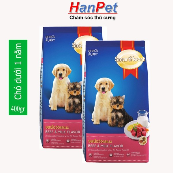 HCM-(Combo 2 gói) Thức ăn dạng hạt cao cấp Smartheart Puppy (dành cho chó dưới 1 năm tuổi) gói 400g (hanpet 215)-HP10296TC