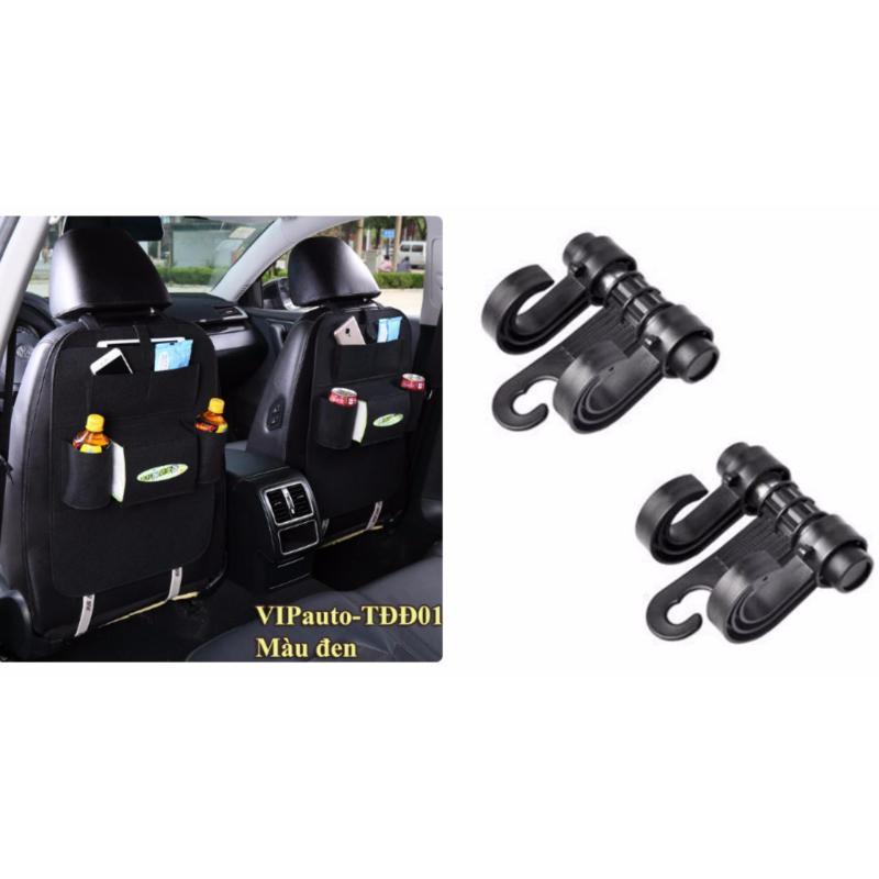 Combo 2 túi treo đồ ghế sau tặng cặp móc treo đồ trên ô tô