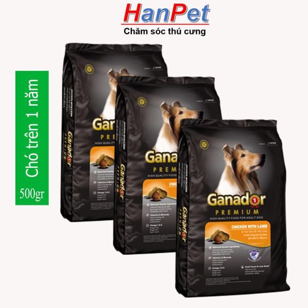 HCM -(Combo 3 gói) Thức ăn  dạng hạt GANADOR ADULT (dành cho chó trên 1 năm tuổi) gói 400gr (hanpet 209)-HP10300TC