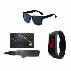 Hình ảnh Combo 3 sản phẩm Kính mát unisex + Đồng hồ led thể thao + Dụng cụ xếp thông minh