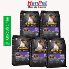 Combo 5 Goi Thức Ăn Dạng Hạt Cao Cấp Ganador Puppy Danh Cho Cho Dưới 1 Năm Tuổi Goi 500Gr Hanpet 209B Ganador Chiết Khấu 50