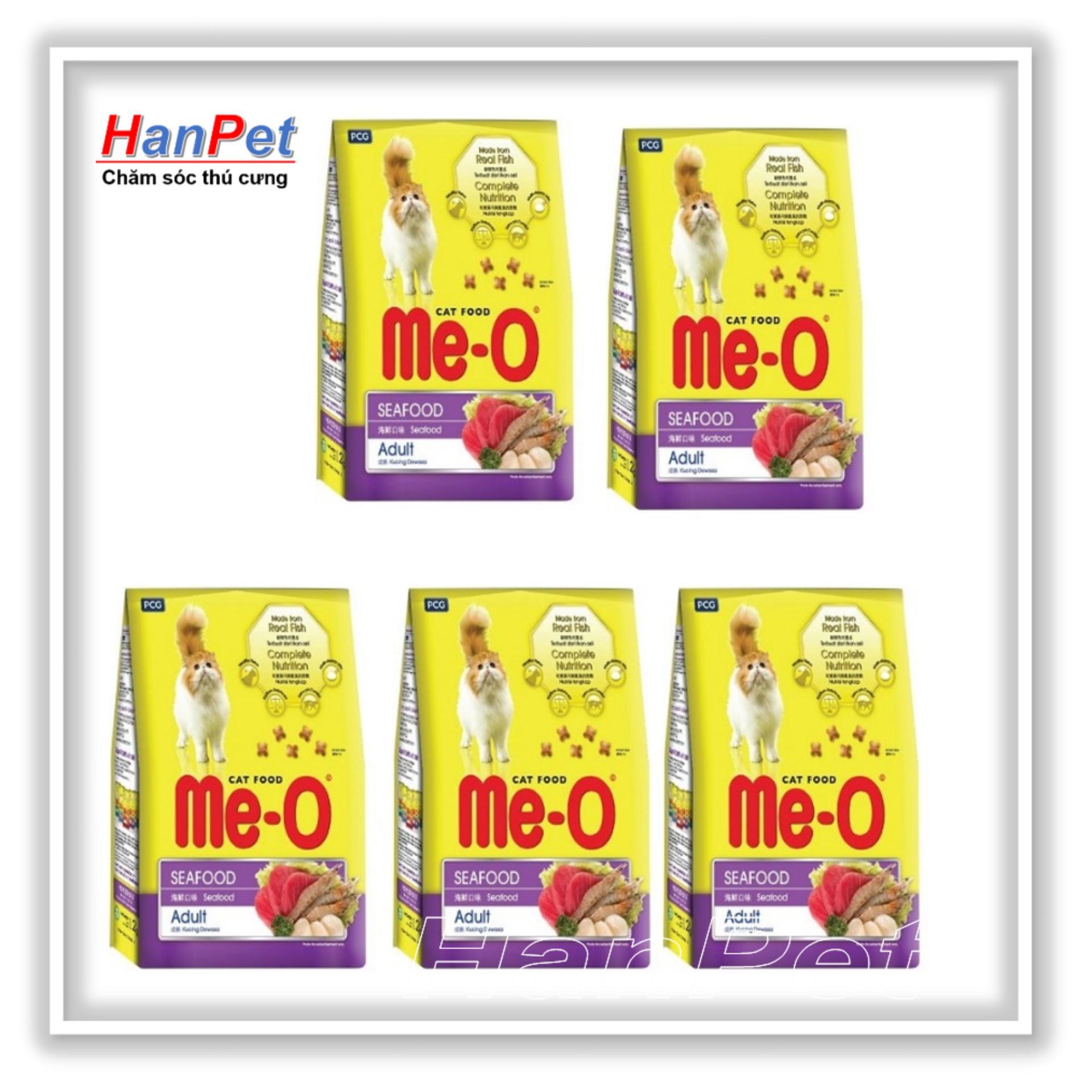 COMBO 5 Gói Thức ăn Dạng Hạt  Cho Mèo Lớn ME-O 350gr (vị Hải Sản) HoaMy A 201e Đang Giảm Giá