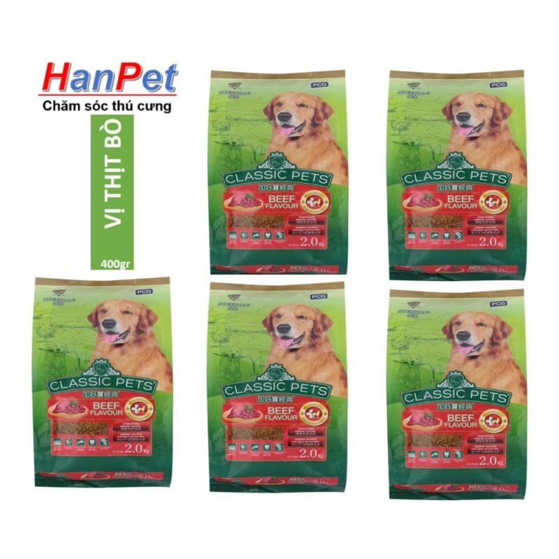 COMBO 5 gói x 400gr Thức ăn chó trưởng thành CLASSIC PETS  (Lazadiep 207)