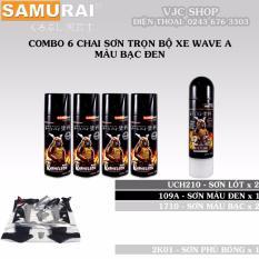 Ôn Tập Combo 6 Chai Sơn Samurai Trọn Bộ Xe Wave A Mau Bạc Đen