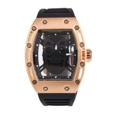 Cool Students Fashion Unisex Skull Silicone Analog Quartz Wrist Watch Sport Gift - intl