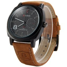 Giá Bán Curren 8139 Quartz Watch 1 Arabic Number Trapezoids Indicate Leather Watchband For Unisex Black Intl Có Thương Hiệu
