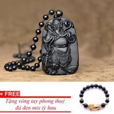 Dây chuyền đá thạch anh hình Quan Công MDH716, tặng vòng đá đen tỳ hưu