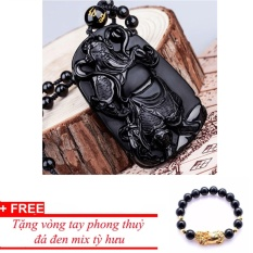 Dây chuyền nam đá thạch anh hình Quan Vũ MDH7166, tặng vòng đá đen mix tỳ hưu