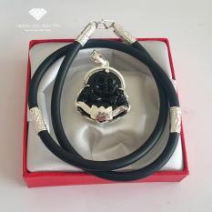 Dây chuyền Nam Mặt Di Lặc Đá Obsidian Đen Bọc Bạc Phong Thủy BẢO TÍN