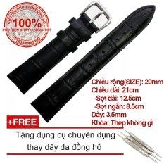 Dây da cao cấp chống thấm mồ hôi Size 20mm (Màu đen) + Tặng dụng cụ chuyên dụng thay dây da đồng hồ