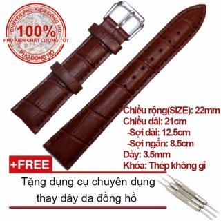 Dây da cao cấp chống thấm mồ hôi Size 22mm (Màu nâu) + Tặng dụng cụ chuyên dụng thay dây da đồng hồ thumbnail