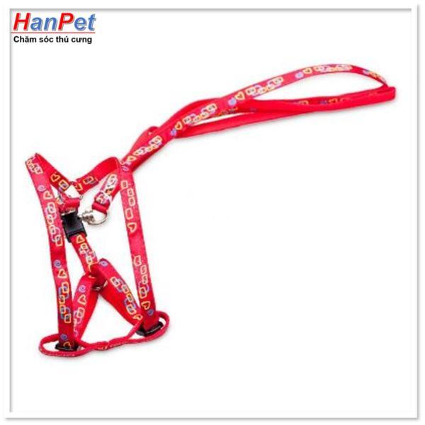HCM-Dây dắt chó mèo + dây yếm đai yên ngựa cho chó mèo từ 4-7kg ( 346)-HP10460TC