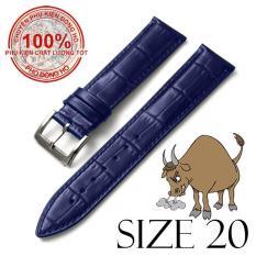 Dây đồng hồ da bò cao cấp BO3 SIZE 20mm (xanh navy)