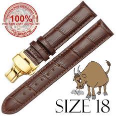 Dây đồng hồ da bò cao cấp SIZE 18mm (nâu) kèm khóa bướm thép không gỉ 316L (vàng)