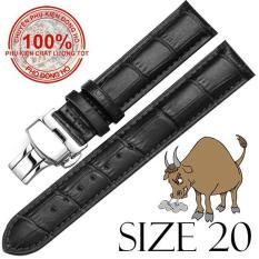 Dây đồng hồ da bò cao cấp SIZE 20mm (đen) kèm khóa bướm thép không gỉ 316L (bạc)