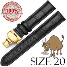 Dây đồng hồ da bò cao cấp SIZE 20mm (đen) kèm khóa bướm thép không gỉ 316L (vàng)