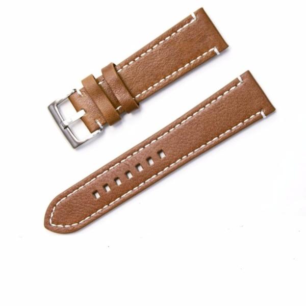 Dây đồng hồ nam da bò 20mm ( màu nâu nhạt) - Tiktakus