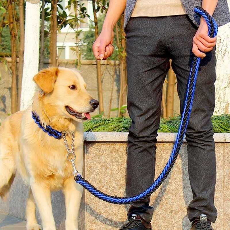 Vòng xích cổ bằng nhựa cho chó cỡ lớn (màu xanh dương phối đen)
