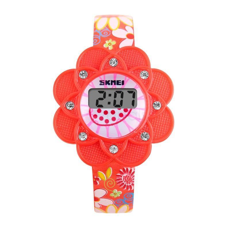 Đồng hồ bé gái dây nhựa SKMEI 10KN98 hoa hướng dương (Đỏ) bán chạy