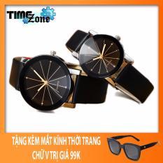Bán Đồng Hồ Cặp Timezone Mặt Đa Thạch Anh Day Da Mặt Đen Day Đen Tặng Kem Mắt Kinh Chữ V Trực Tuyến Hồ Chí Minh